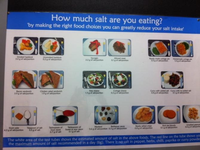 Signage in the Cardio waiting area of the NHS hospital, The Royal Free. I was chuckling to myself sitting in front of this poster: How much salt? First - take a look at WHAT you're eating. I don't really think salt is the problem here. But no real dietary guidance will be given to those who need it.