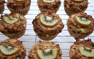 Kiwi fruit muffin recipe with cacao nibs orange zest