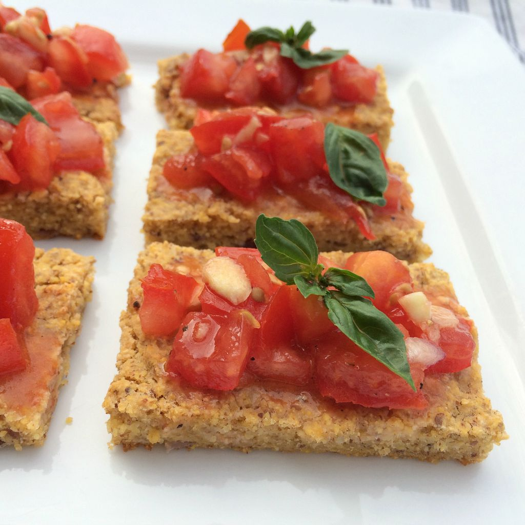 Tomato bruschetta makes great healthy gluten free snacks