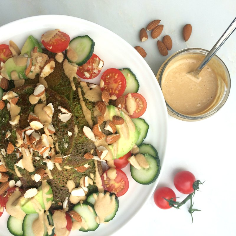 The best healthy salad dressing - Dreamy tahini dressing goes great on savoury spinach pancakes