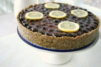 Healthy Lemon Curd Tart Recipe with Blueberries - paleo - vegan